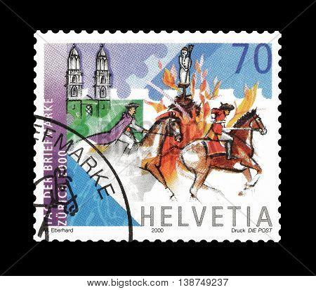 SWITZERLAND - CIRCA 2000 : Cancelled postage stamp printed by Switzerland, that shows Horseman.