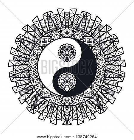 Vintage Yin And Yang In Mandala