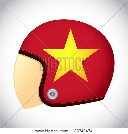 Vector stock of retro classic motorcycle helmet with Vietnam flag