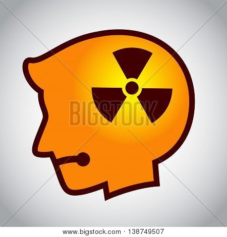 Vector stock of human head silhouette with hazard symbol inside