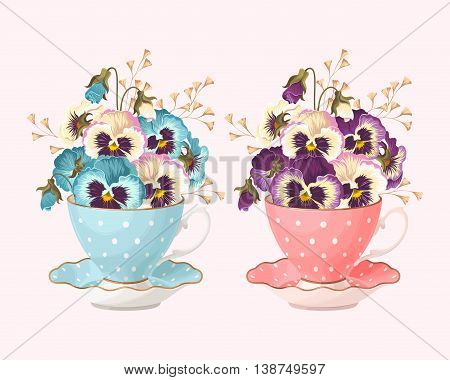 Vector illustration of vintage teacups with pansies in two color variants