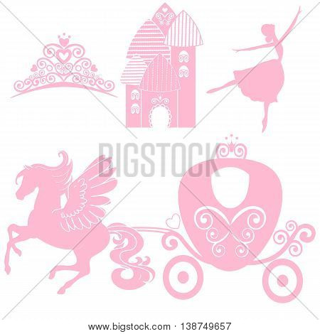 Cinderella set of collections. Crown, Vector illustration. design elements for little Princess, glamour girl. cards for birthday, wedding invitation. the carriage, the Palace, Pegasus, dancing