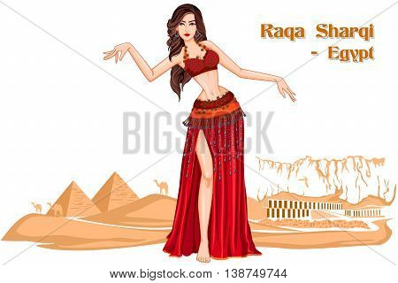 Vector design of Egyptian Woman performing Raqs Sharqi dance of Egypt