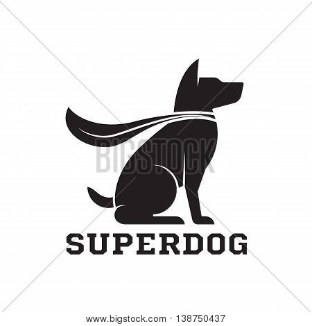 Superdog outline emblem. Super dog hero in heroic cape emblem. Scotch terrier in cloak.