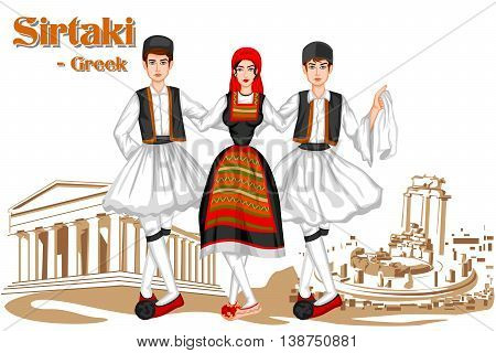 Vector design of Greek Couple performing Sirtaki dance of Greece