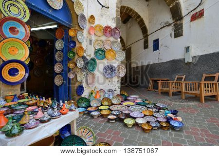 ESSAOUIRA - JULY 16: Traditional moroccan ceramics for sale in a souk (market) of Essaouira, Morocco, July 16, 2013. Essaouira is one of the most popular tourist place on Atlantic coast in Morocco.