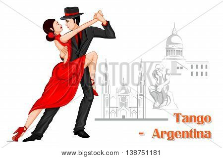 Vector design of Argentine Couple performing Tango dance of Argentina