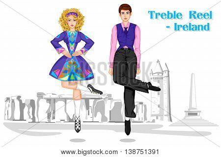 Vector design of Irish Couple performing Treble Reel dance of Ireland