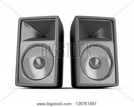 Pair of big loudspeakers on white background, 3D illustration