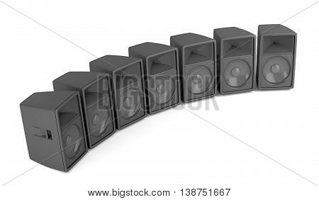 Set of powerful stage speakers on white background, 3D illustration