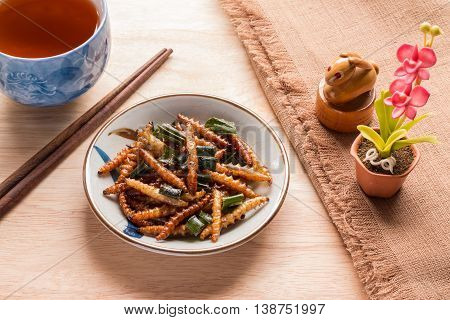 Fried Insects - Wood Worm Insect Crispy With Pandan After Fried And Add A Light Coating Of Sauce And