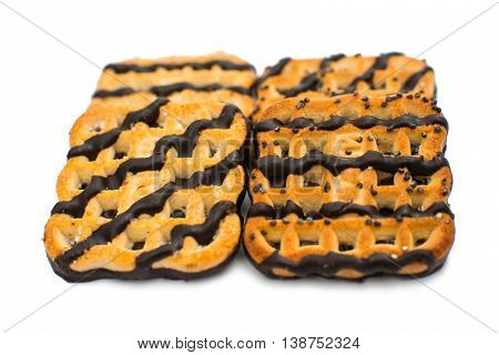 cookies with chocolate icing isolated on white background