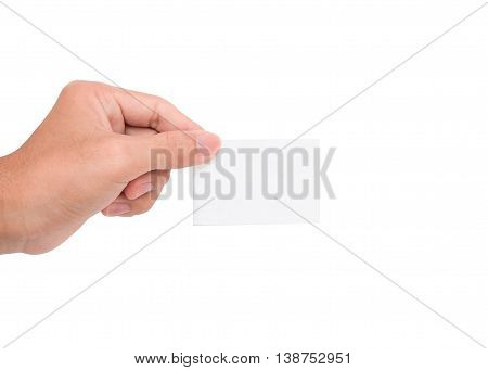 A hand holding a white paper card/note with white backgroud
