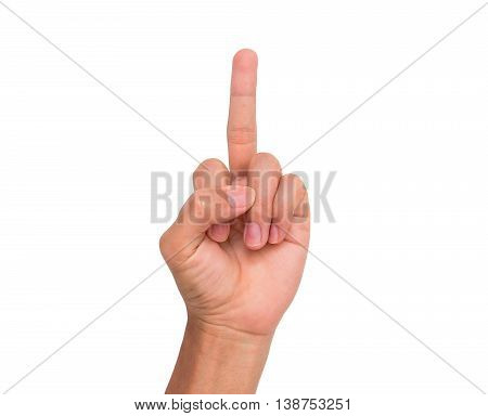 A hand sign of middle finger point upward meaning fuck you, fuck off, etc. with white background