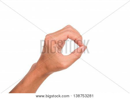 A hand sign meaning round, hole, zero, etc. with white backgroud