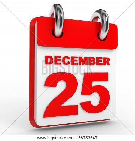 25 December Calendar On White Background.