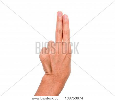 A hand sign of 2 fingers point upward meaning two, second, etc. with white background