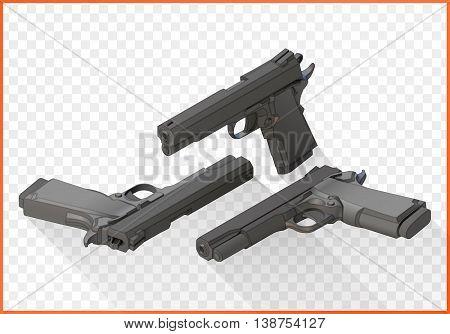 Handgun isometric illustration set. Pistols flat vector 3d isolated on white background