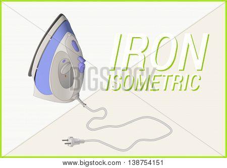 Smoothing-iron isometric flat. Flatiron vector 3d illustration isolated on white background