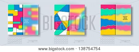 Multicolor Design Templates set with Frosted Glass Insert. Geometric Triangular Abstract Modern Vector Background.