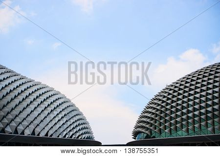 singapore, singapore - july 17, 2016; Esplanade theater is a modern building for musical,art gallery and concert located at riverside
