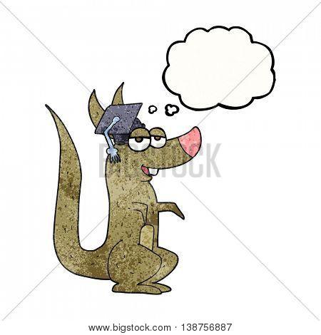 freehand drawn thought bubble textured cartoon kangaroo with graduation cap