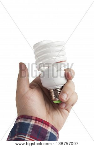 Energy saving lamp in the man's hand on white background closeup