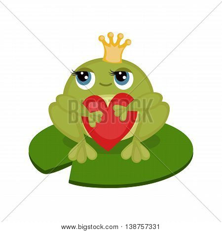 Card with cute little frog holding a red heart