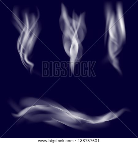Vector smoke set. Cigarette realistic smoke on dark background. Smoke texture. Cigarette smoke waves.