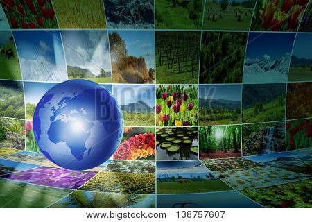 World map with many nature photos
