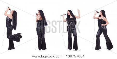 Woman singing in karaoke club in various poses on white