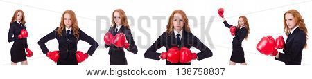 Collage of woman businesswoman with boxing gloves on white