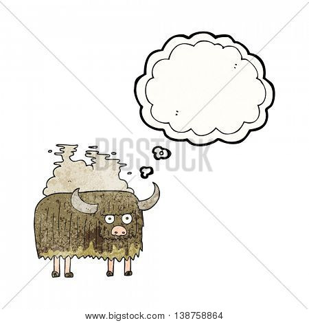 freehand drawn thought bubble textured cartoon smelly cow
