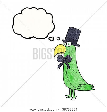 freehand drawn thought bubble textured cartoon posh parrot