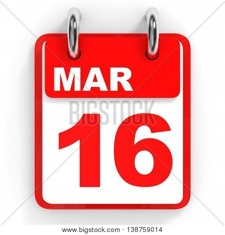 Calendar On White Background. 16 March.
