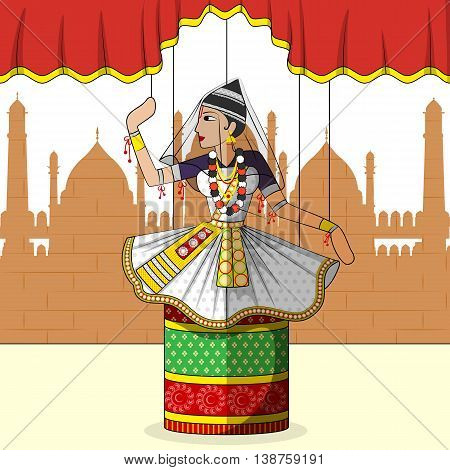 Vector design of colorful Rajasthani Puppet doing Manipuram classical dance of Manipur, India