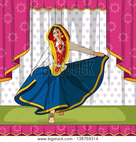 Vector design of colorful Rajasthani Puppet doing performing Phag folk dance of Haryana, India