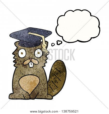 freehand drawn thought bubble textured cartoon beaver graduate