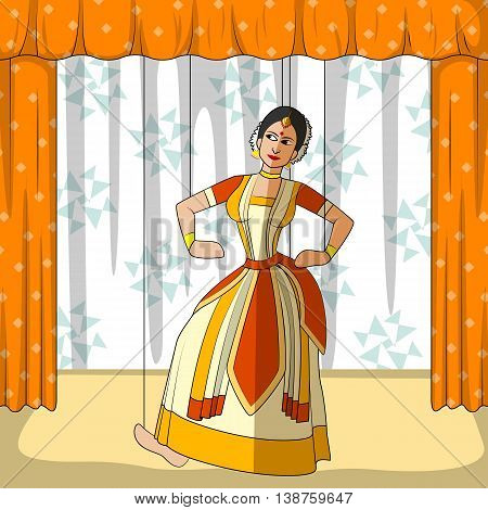 Vector design of colorful Rajasthani Puppet doing Sattriya classical dance of Assam, India
