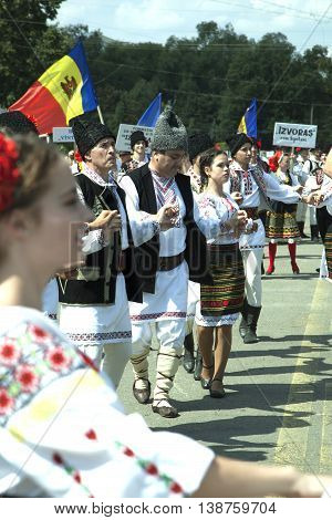 CHISINAU MOLDOVA- JULY 27 2014: Independence Day national holiday. Participants of the concert. National Assembly Square