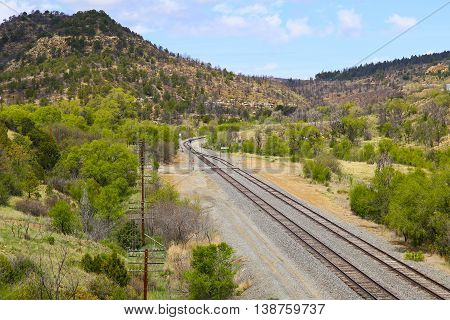 Railroad Tracks In The Mountains