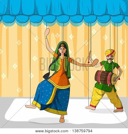 Vector design of colorful Rajasthani Puppet doing Bhangra folk dance of Punjab, India