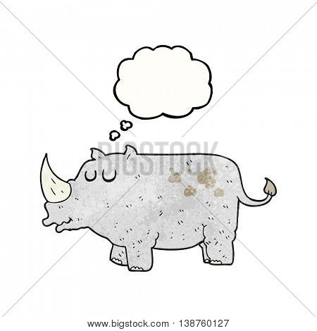 freehand drawn thought bubble textured cartoon rhino