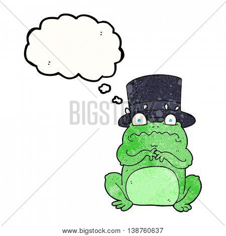 freehand drawn thought bubble textured cartoon wealthy toad