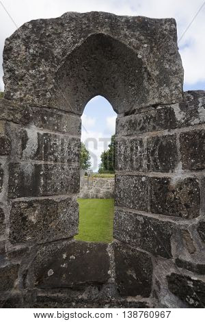 detail from the ruins of the convent of gudhem, sweden