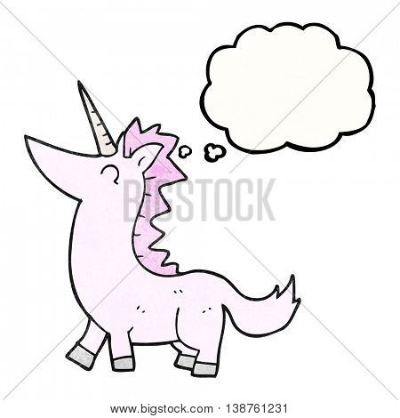 freehand drawn thought bubble textured cartoon unicorn