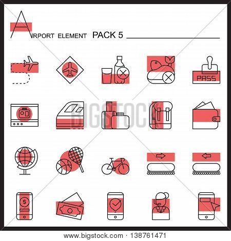 Airport Element Line Icon Set 5.Color pack.Graphic vector logo set.Pictogram design.