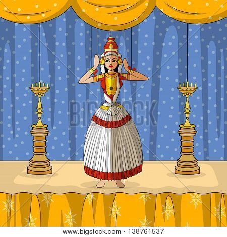 Vector design of colorful Rajasthani Puppet doing Kutiyattam classical dance of Kerala, India