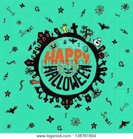 Halloween card with hand drawn lettering cemetery landscape and scary elements on turquoise background. Vector hand drawn illustration.