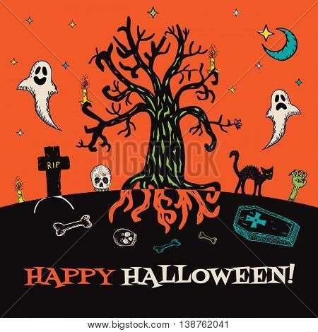 Halloween card with hand drawn cemetery landscape and scary elements on orange background. Vector hand drawn illustration.